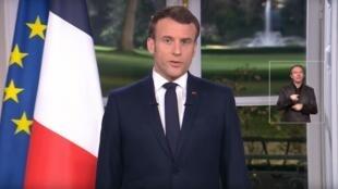 Le président Français Emmanuel Macron présente ses vœux aux Français, ce mardi 31 décembre 2019.  Capture d'écran.