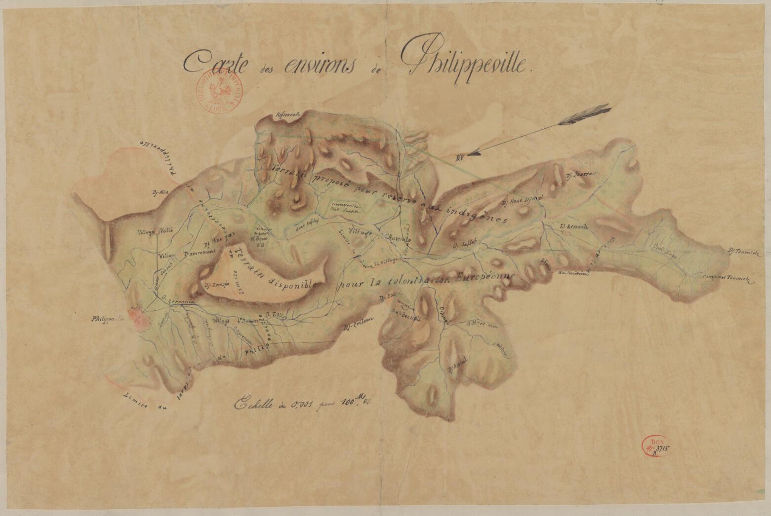 « Carte des environs de Philippeville, terrain proposé pour réserve aux indigènes », vers 1840-1842, carte manuscrite sur calque, 42 x 58 cm. Bibliothèque nationale de France.