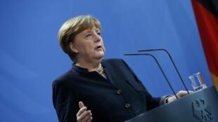 La chancelière allemande Angela Merkel lors d'une conférence de presse à Berlin, le 16 janvier 2017.