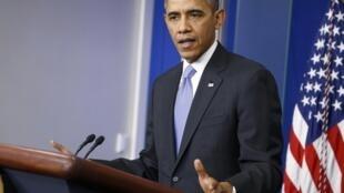 Tổng thống Mỹ Barack Obama trong cuộc họp báo cuối năm tại Nhà Trắng, Washington, 20/12/2013