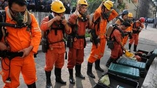 Rescuers at a coal mine in Yuzhou, Henan province, in October