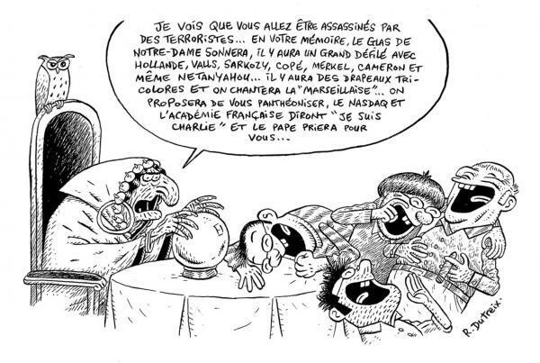 Caricature parue sur le site Internet de Fluide Glacial, le 12 janvier 2015.