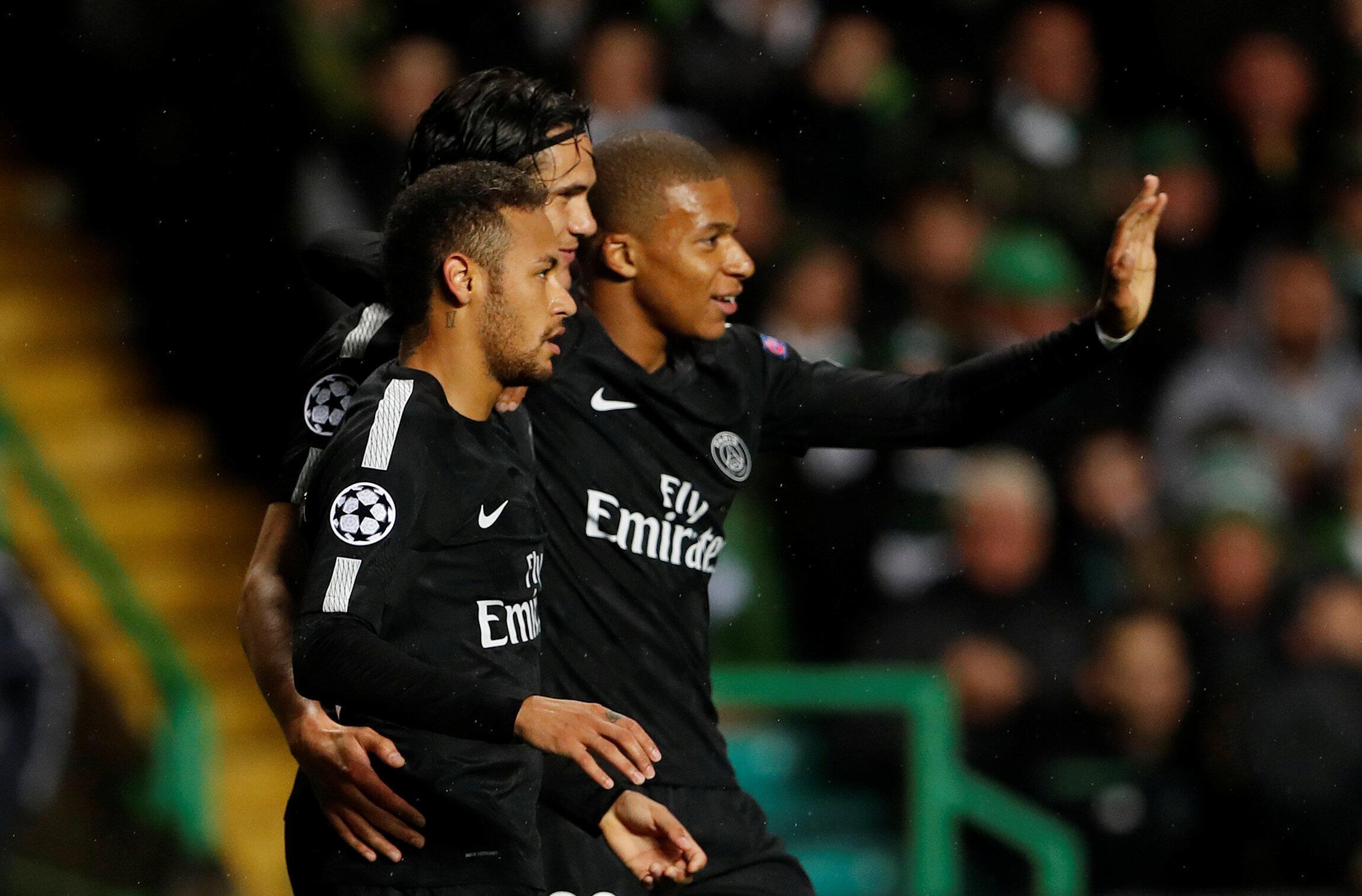 Neymar, Cavani e Mbappé marcaram os golos do PSG na vitória por 5-0 frente ao Celtic na Liga dos Campeões.
