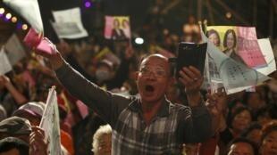 1月9日,台灣高雄,蔡英文的支持者們。
