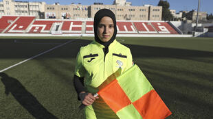 Palestinian referee Hanin Abu Mariam, at the Faisal al-Husseini International Stadium in the West Bank city of Al-Ram, said her interest in football began while studying sports at university