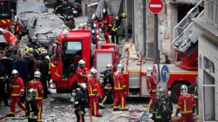 La explosión causó numerosos estragos, París, calle Trévisse, 12 de enero.