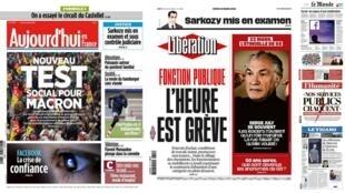 A imprensa francesa desta quinta-feira (22) ver o movimento nacional de greve como o primeiro grande desafio do governo de Emmanuel Macron.