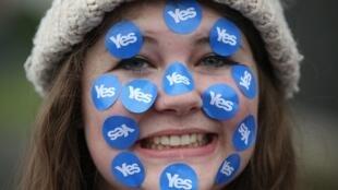 یکی از طرفداران استقلال اسکاتلند