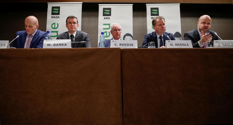 Глава отдала расследований Гюнтер Юнгер, будущий глава WADA Витольд Банька, президент агентства Крейг Риди, гендиректор Оливье Ниггли и Джонатан Тейлор, глава Комитета по соответствию