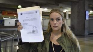 لیلیان تینتوری، فعال حقوق بشر و همسر لئوپولدو لوپز، از مخالفان شناخته شده ونزوئلا.