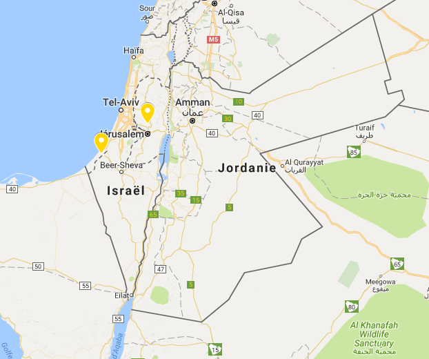 Pas de mention «Palestine» sur Google Maps, ni même «Territoires palestiniens» en ce lundi 15 août. Par contre, des pointillés pour délimiter Gaza et la Cisjordanie, dont les principales villes apparaissent également.