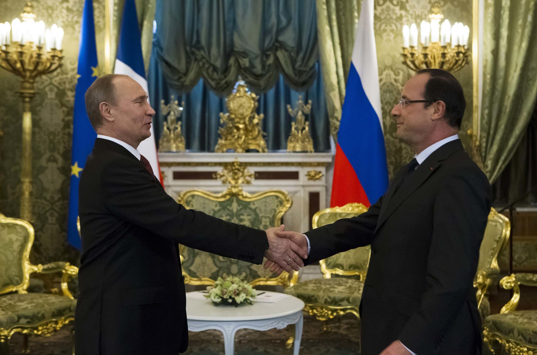 Франсуа Олланд и Владимир Путин на встрече в Кремле 28 февраля 2013 г.