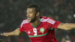 L'attaquant marocain Ayoub El Kaabi après avoir marqué contre la Libye en demi-finale du CHAN, le 31 janvier 2018.