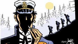 Detalle de la tapa del nuevo álbum de Corto Maltés, 'Bajo el sol de medianoche'.