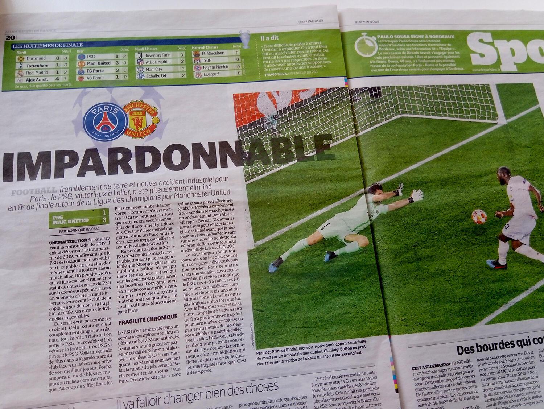 La Parisien qualifica de imperdoável a derrota do PSG para o Manchester United nas oitavas de final da Liga dos Campeões..