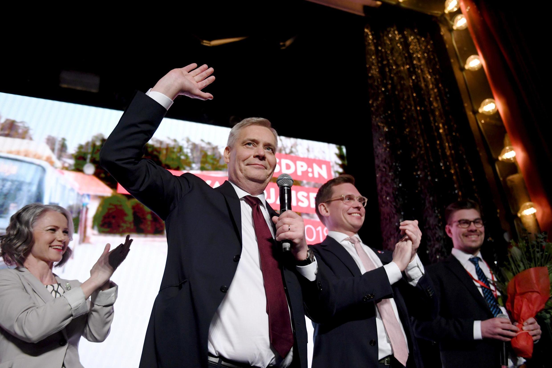 Antti Rinne, le soir de la victoire de son parti social-démocrate aux législatives finlandaises du 14 avril 2019.