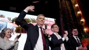 Ông Antti Rinne, đứng đầu đảng Dân Chủ Xã Hội Phần Lan, ăn mừng chiến thắng của đảng tại Helsinki, ngày 14/04/2019.