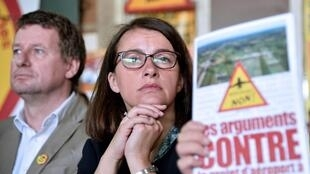 Yannick Jadot and Cécile Duflot criticised plans for a new airport in Notre-Dame-des-Landes at a press conference on 22 June 2016.