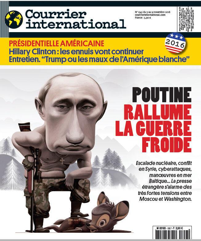 Capa do jornal semanal Courrier International com manchete sobre o governo russo de Vladimir Putin.