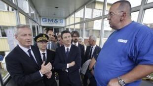 Le ministre de l'Economie, Bruno Le Maire, qui s'est rendu mercredi après-midi sur le site de l'équipementier automobile GM&S à La Souterraine où il a rencontré une centaine d'employés.