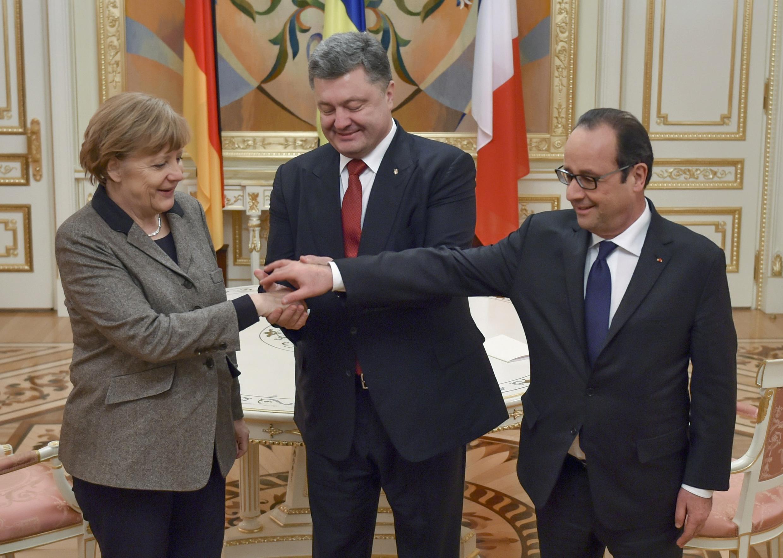 Angela Merkel, Petro Porochenko et François Hollande à Kiev, le 5 février 2015.