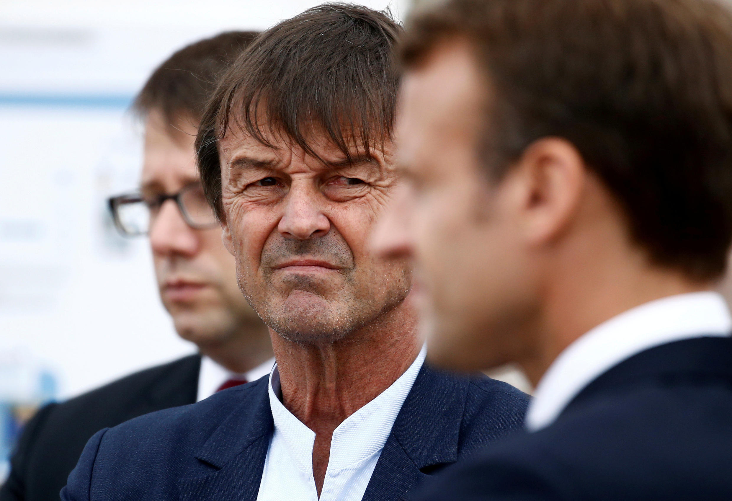 The resignation of popular former Environment minister Nicolas Hulot in August 2018 came as a blow for Macron's government. (both pictured here at Brittany, France, 20 June 2018).
