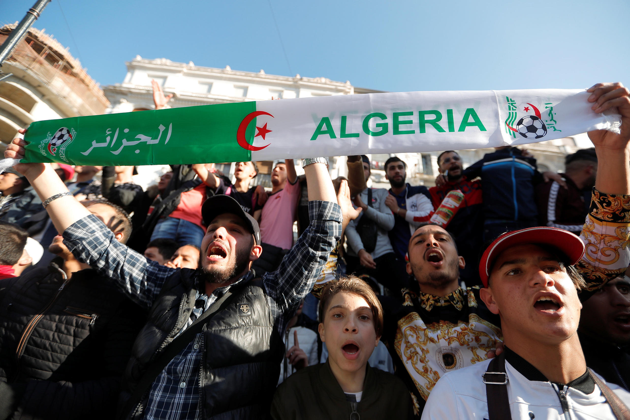 Protesters in Algiers on March 3, 2019, oppose Abdelaziz Bouteflika's run for a fifth term as president.