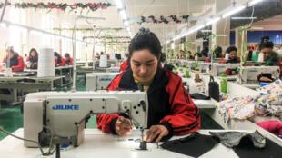 """新疆喀什某""""職業培訓中心""""里的縫紉課。攝於2019年1月4日。"""
