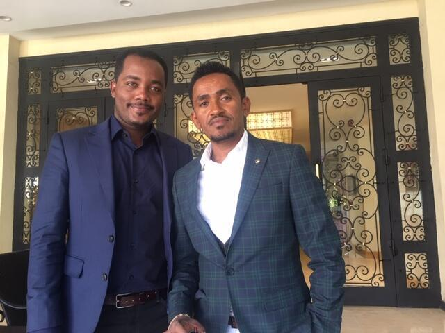 Oromo singer Hachalu Hundessa (r.) with law scholar and rights activist Awol Allo, Addis Ababa January 2019