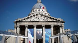 Foto de Simone Veil y de su esposo en la fachada del Panteón de París, 27 de junio del 2018.