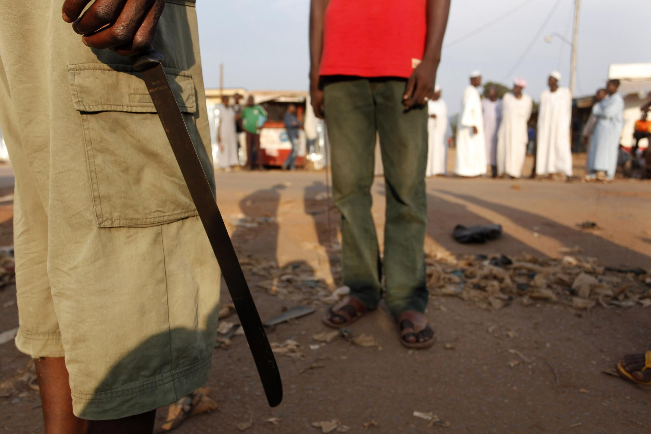 Outside a mosque in Bangui where bodies of victims of anti-balaka attacks were laid out