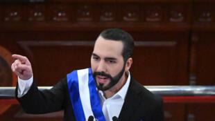 El presidente de El Salvador, Nayib Bukele, el 1º de junio de 2021 en la Asamblea Legislativa de su país, en San Salvador