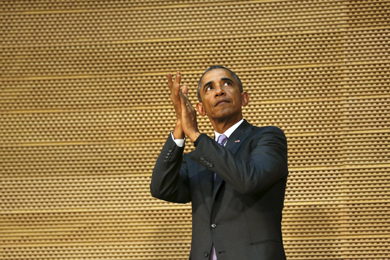 Barack Obama al final de su discurso ante la Unión Africana en Adís Abeba el 28 de julio del 2015. REUTERS/Jonathan Ernst