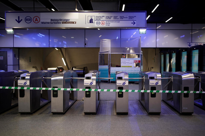 Закрытая из-за забастовки станция парижского метро