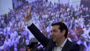 L'ex-Premier ministre grec, Alexis Tsipras, lors d'un meeting avec des membres du parti Syriza, à Athènes le 29 août 2015.