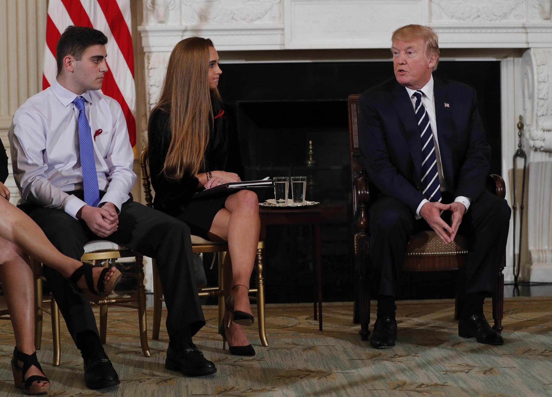 Tổng thống Mỹ Donald Trump trong buổi tiếp xúc với học sinh và giáo viên tại Nhà Trắng, ngày 21/02/2018.