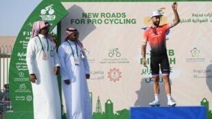 Nacer Bouhanni lors de sa victoire d'étape en Arabie Saoudite, le 7 février 2020.