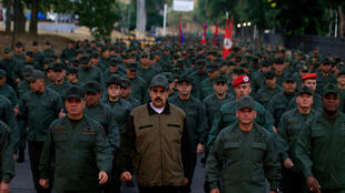 Venezuela's President Nicolas Maduro takes part in a ceremony at a military base in Caracas Venezuela May 2, 2019.