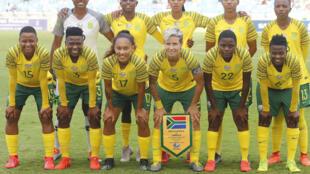 L'équipe féminine de football d'Afrique du Sud, le 7 avril 2019 avant un match amical face à la Jamaïque.