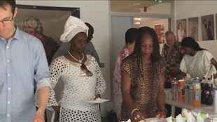 Members of the international association of culture without borders meet for a shared meal during the 16th edition of the Marmite d'Or food competition, June 2019