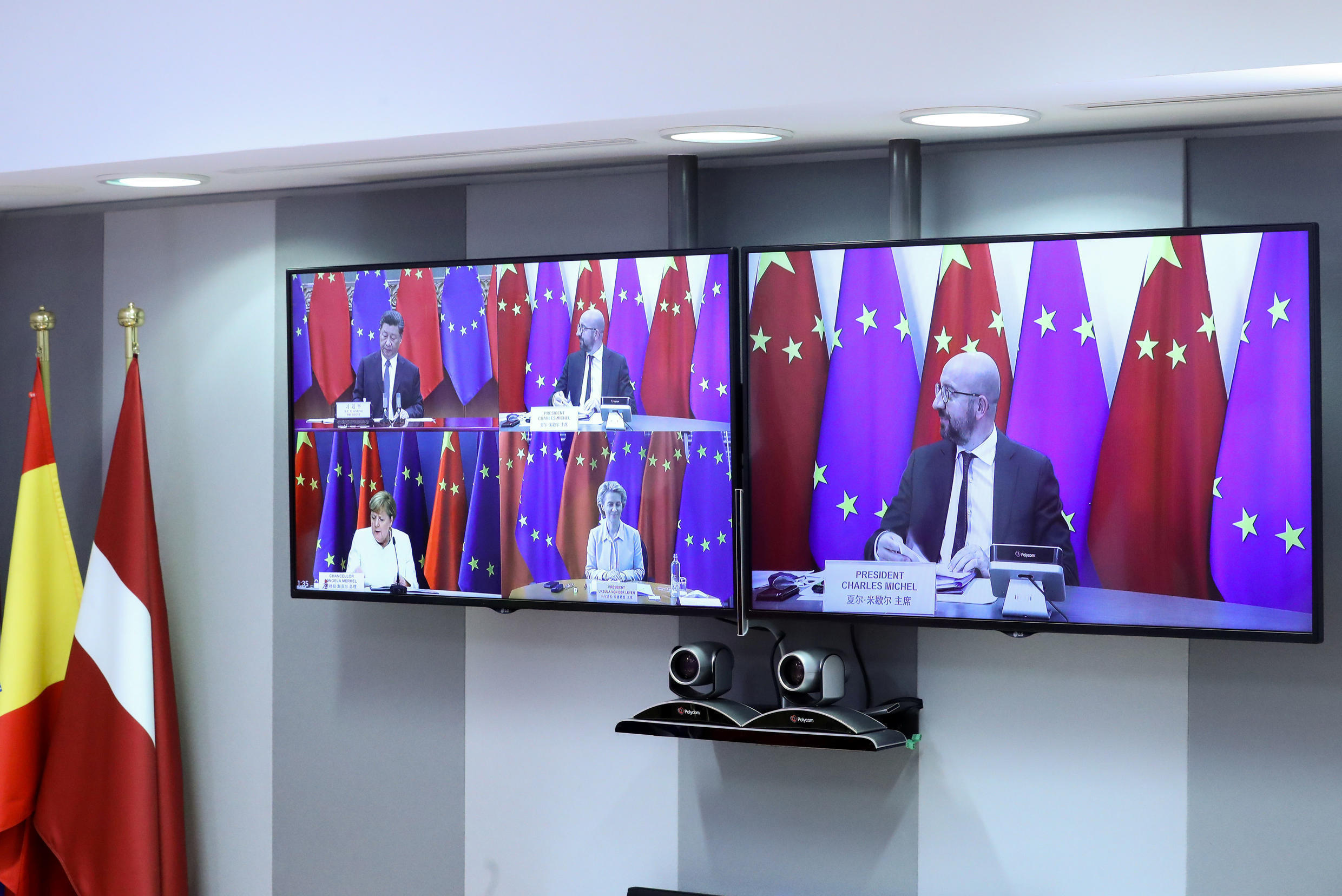 European Council President Charles Michel, High Representative of the European Union for Foreign Affairs and Security Policy Josep Borrell (not pictured) and connected via video European Commission President Ursula von der Leyen and German Chancellor Angela Merkel take part in a virtual summit with China's President Xi Jinping, in Brussels, Belgium September 14, 2020.