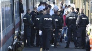 2015年9月9日难民和丹麦警察对峙