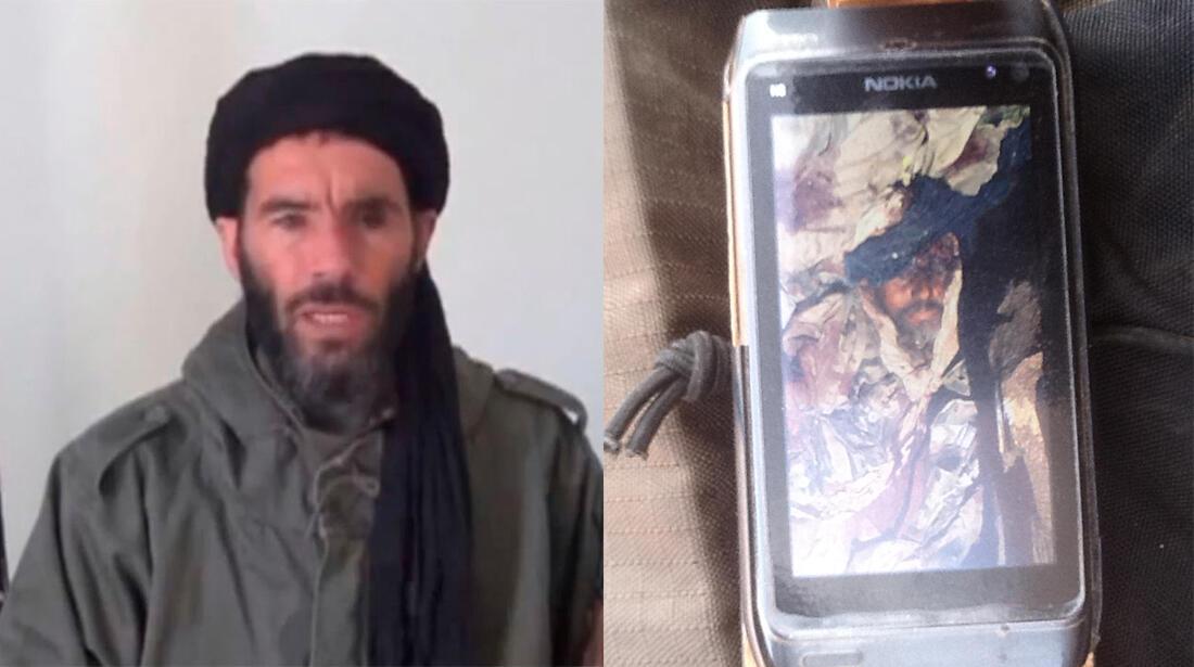 A droite, la photographie du portable d'un militaire tchadien. A gauche, une image récente de Mokhtar Belmokhtar, diffusée le 21 janvier dernier.