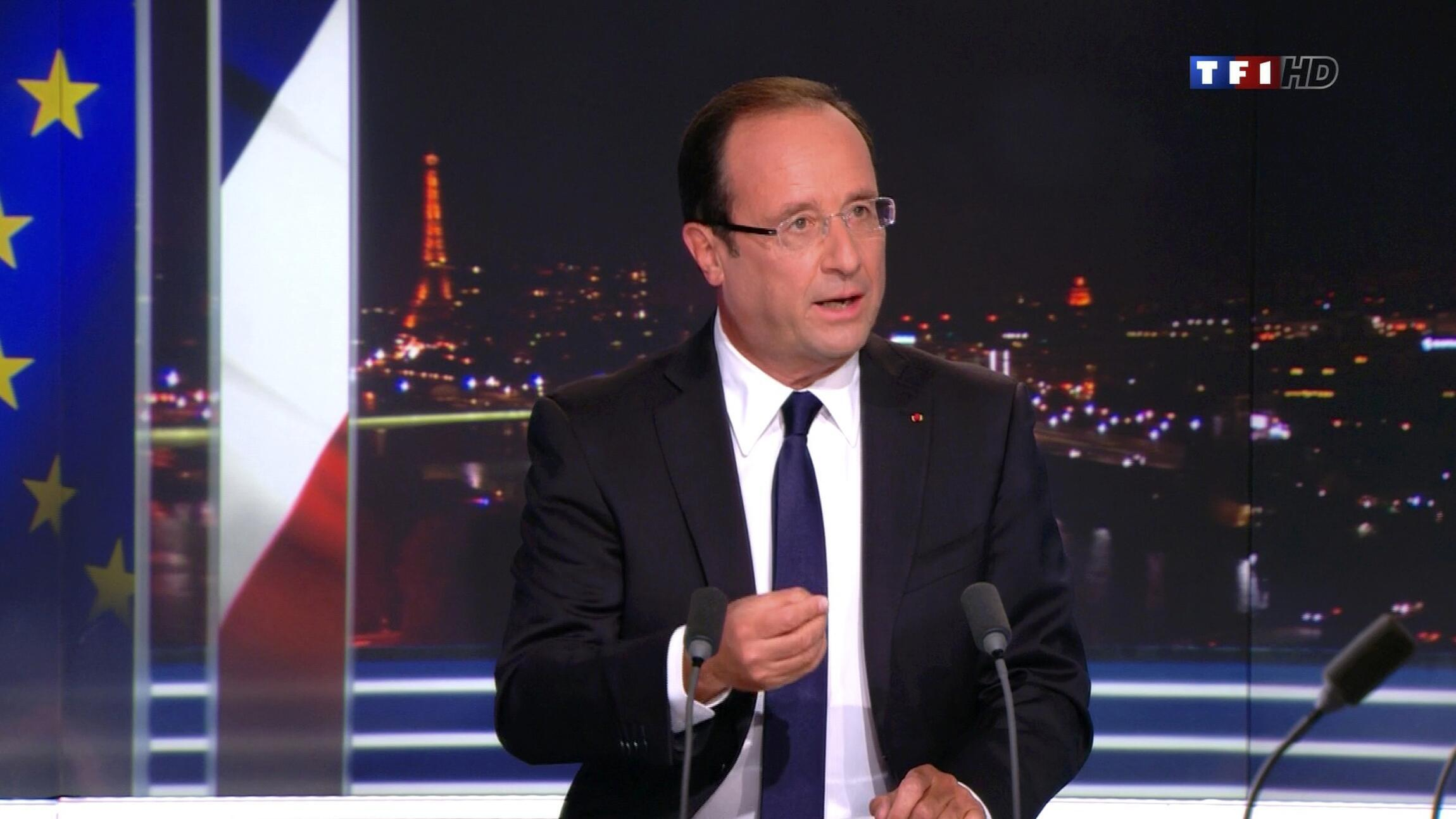 លោកប្រធានាធិបតីបារាំង ហ្វ្រង់ស្វ័រ ហូឡង់ ថ្លែងពន្យល់តាមរយៈកញ្ចក់ទូរទស្សន៍ TF1 នៅថ្ងៃអាទិត្យទី៩កញ្ញា២០១២