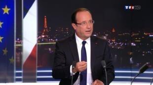Tổng thống Pháp, François Hollande trong cuộc nói chuyện ngày 09/09/2012