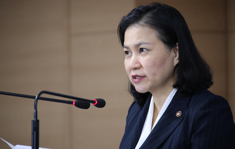 Bộ trưởng Thương Mại Hàn Quốc Yoo Myung Hee trong cuộc họp báo tại trụ sở chính phủ, Seoul, ngày 11/09/2019.