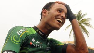 L'incrédulité de Natnael Berhane après avoir remporté la Tropicale Amissa Bongo, le 19 janvier 2014.
