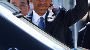US President Barack Obama arrives at Hangzhou Xiaoshan international airport for the G20 Summit