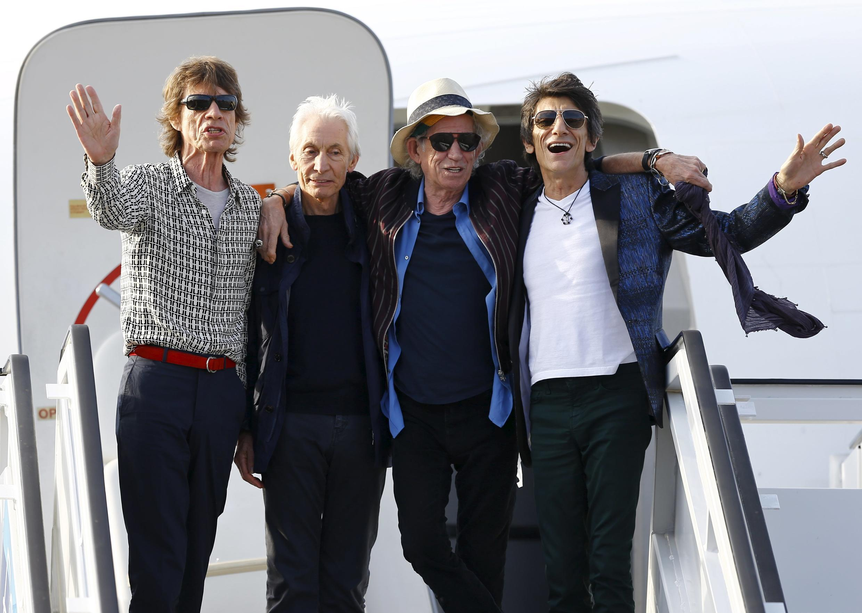 Các thành viên của nhóm nhạc rock huyền thoại Rolling Stones đến La Habana ngày 24/03/2016.