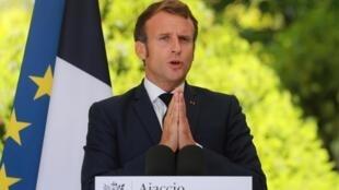 Le président Emmanuel Macron, lors d'une conférence de presse à Ajaccio, en Corse, le 10 septembre 2020.
